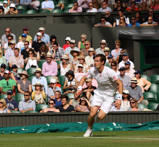 WIMBLEDON, UK, WIMBLEDON, ANDY MURRAY BELOW HIS TEAM.