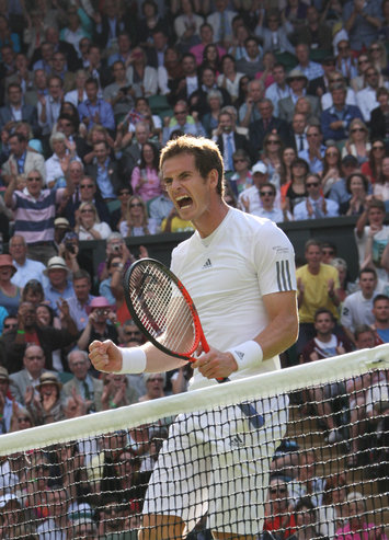 WIMBLEDON,UK, 1JULY2013, ANDY MURRAY SCEAMING, FIST, HEAD RACQUET